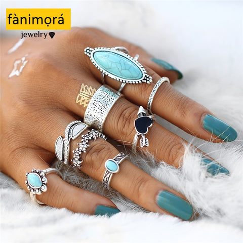 8 Pcs Vintage Midi- Ring Set For Women