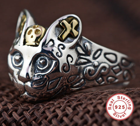 100% Real 925 Sterling Silver Cute Cat Ring