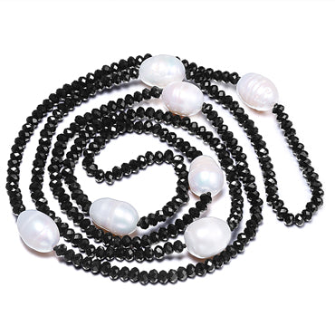 Big Rice Pearl & Crystal Necklace