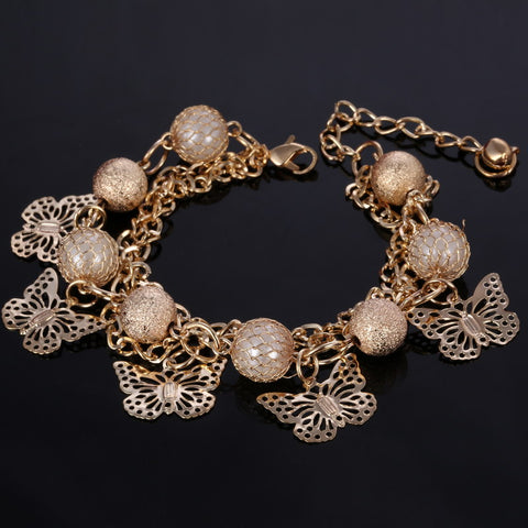 Simulated Pearl Charm Bracelet