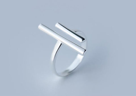 Double Bar Silver Ring