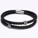 Steel Black Leather Bracelet