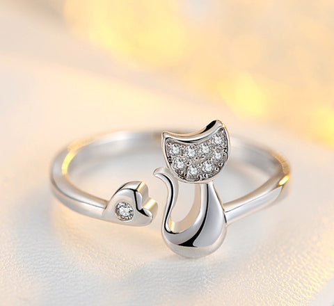 Crystal Cubic Zirconia Cat Ring