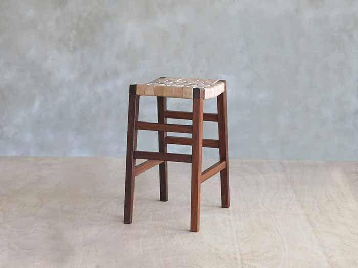 Sustainable wood and leather barstool