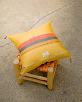 Soil to Studio Aditi Handwoven Linen Yellow Pillow-14246052233279