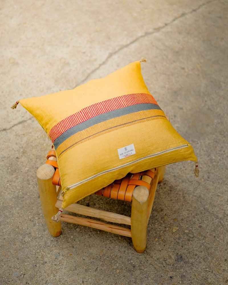 Soil to Studio Aditi Handwoven Linen Yellow Pillow