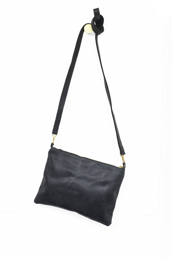 Leather Crossbody - Ink Black