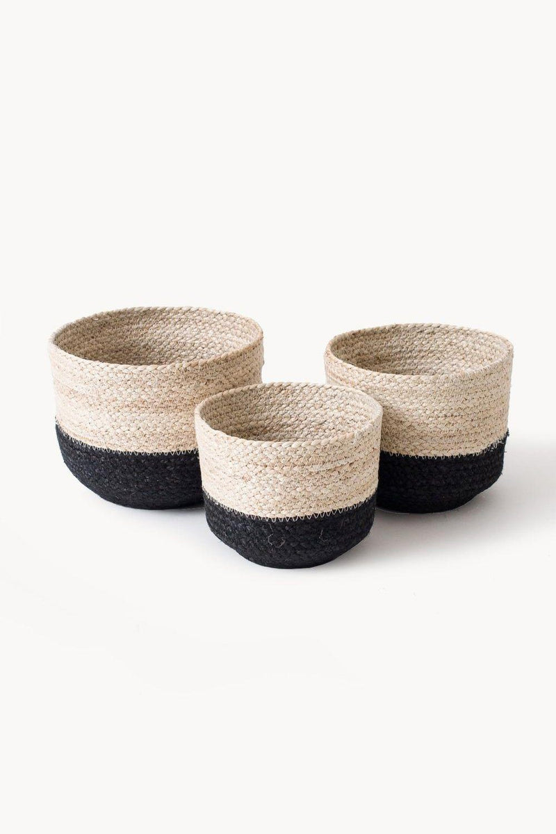 Hathorway Naiya Handwoven Jute Colorblock Baskets (Set of 3)