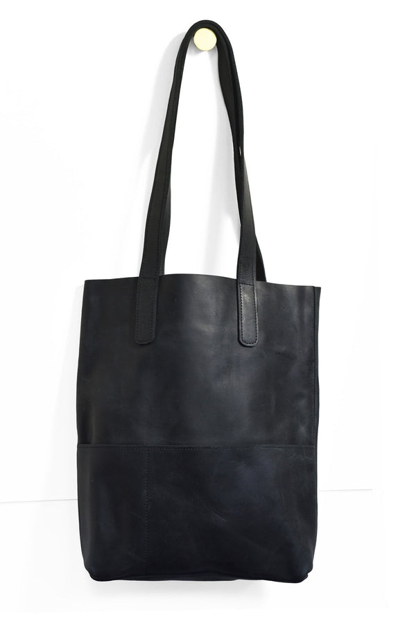 Outside Pockets Handbag - Ink Black