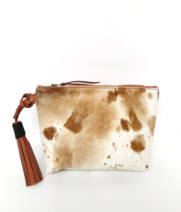 Abby Alley Keely Clutch, Chestnut Cow Hair Abby Alley
