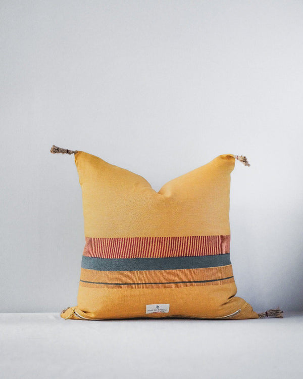 Aditi Linen Throw PIllow Cover - Yellow Home Decor Soil to Studio