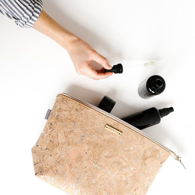 Adventurer Cork Cosmetics Bag - Natural Accessories Carry Courage