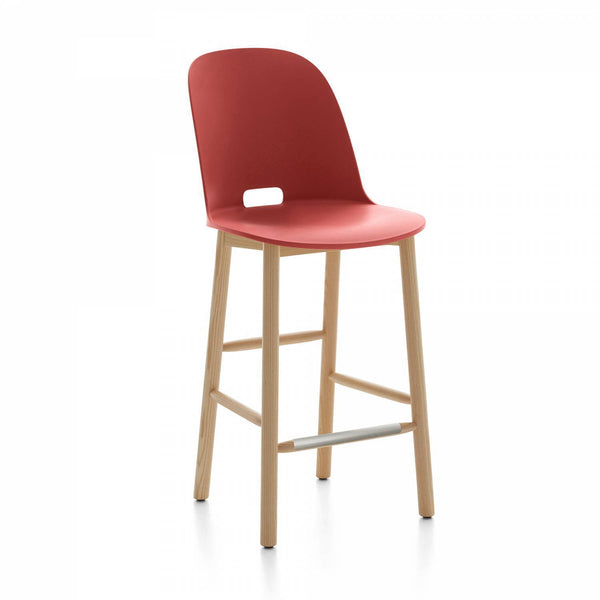 Alfi Recycled High Back Counter Stool - Ash Furniture Emeco Red