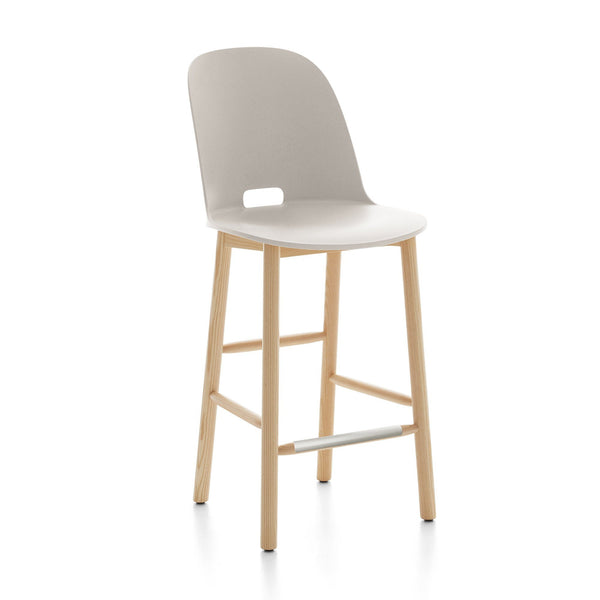 Alfi Recycled High Back Counter Stool - Ash Furniture Emeco White