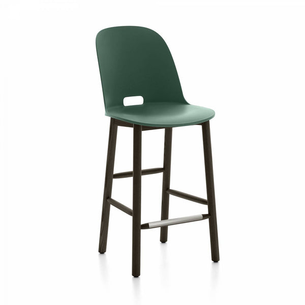Alfi Recycled High Back Counter Stool - Dark Ash Furniture Emeco Green