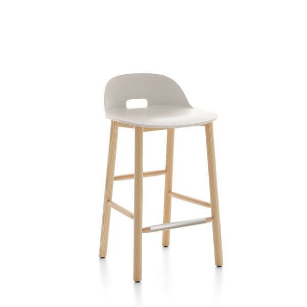 Alfi Recycled Low Back Counter Stool - Ash Furniture Emeco White