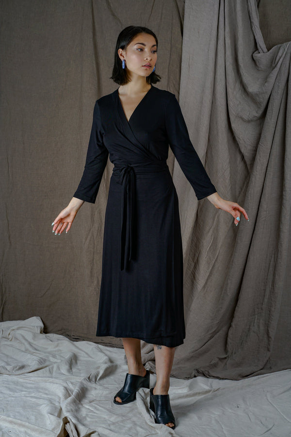 Altar Black Knit Wrap Dress Apparel Altar