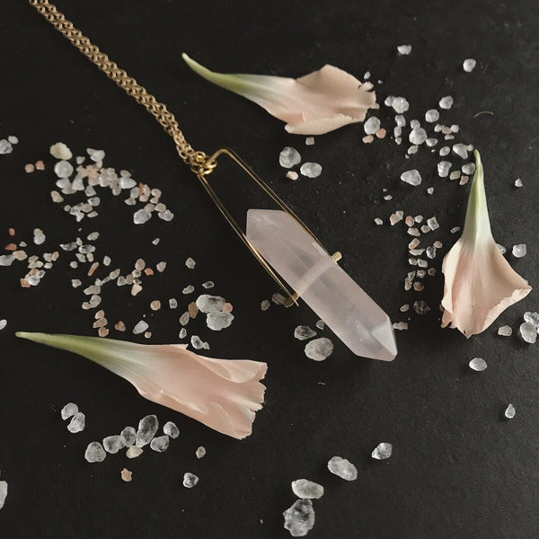 Altar Crystal Spinner Necklace - Rose Quartz Jewelry Altar Silver