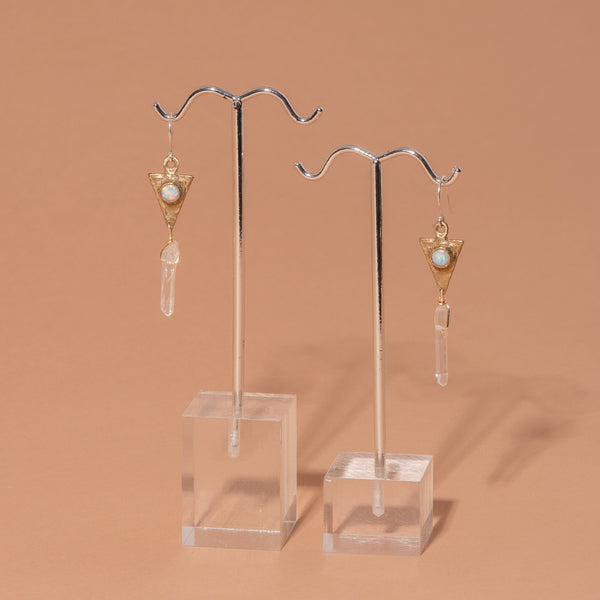 Altar Dart and Crystal Drop Earrings Jewelry Altar Opal