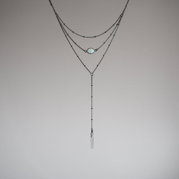 Altar Layered Opal Lariat Necklace Jewelry Altar