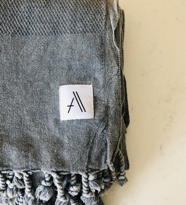 Amante Arete Turkish Throw Towel - Heather Gray Bedding and Bath Amante Marketplace