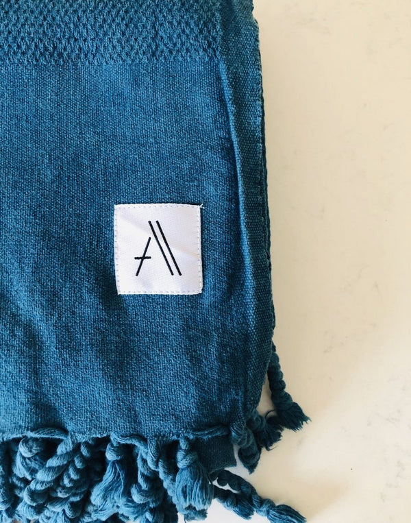 Amante Arete Turkish Throw Towel - Petrol Blue Bedding and Bath Amante Marketplace