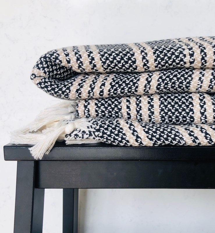 Amante Doxa Turkish Blanket - Beige / Black Stripe Bedding and Bath Amante Marketplace