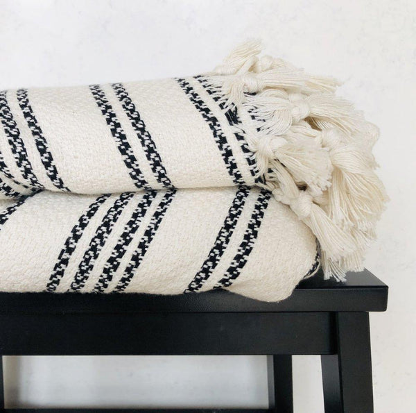 Amante Doxa Turkish Blanket - Cream / Black Stripe Bedding and Bath Amante Marketplace