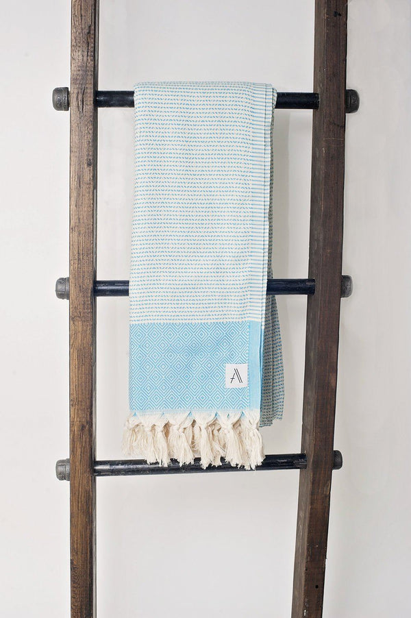 Amante Magis Diamond Turkish Towel / Throw Blanket - Teal Bedding and Bath Amante Marketplace