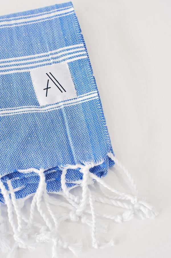 Amante Teleios Turkish Hand Towel - Blue Bedding and Bath Amante Marketplace
