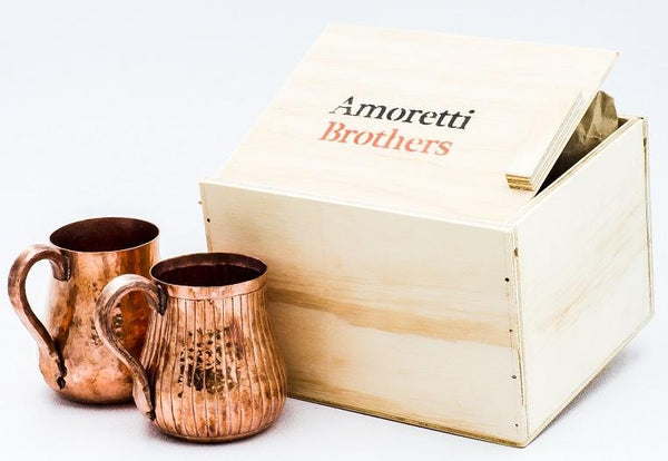 Amoretti Brothers Hand-engraved Lines Copper Mug - set of 2 copper mug Amoretti Brothers