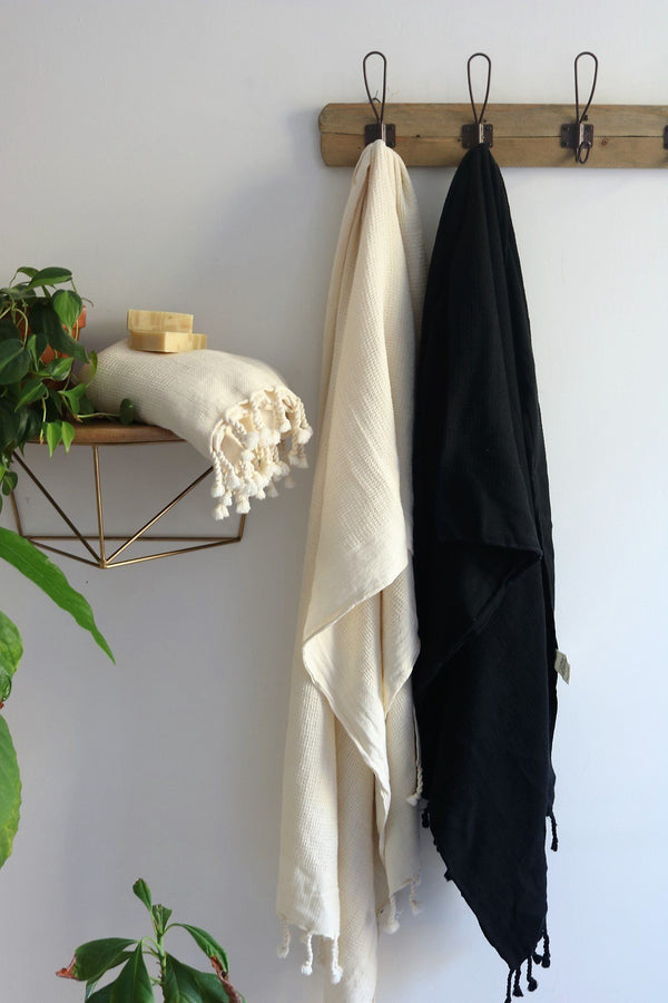 Anatoli Co Waffle-weave Turkish Towel Black Turkish Towels Anatoli Co
