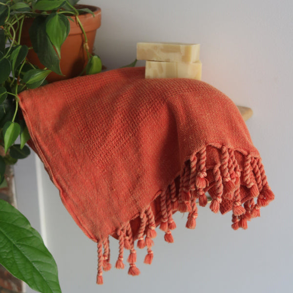 Anatoli Co Waffle-weave Turkish Towel Coral Turkish Towels Anatolico
