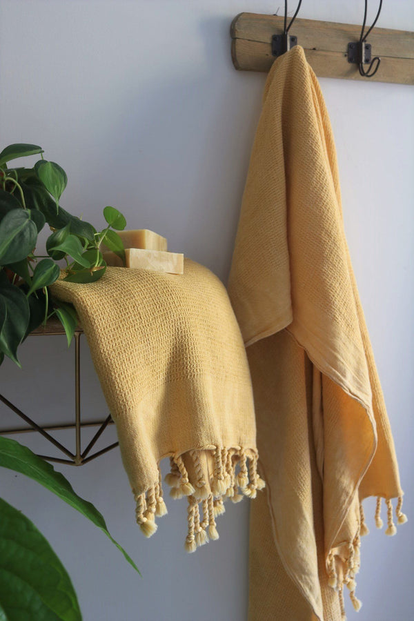Anatoli Co Waffle-weave Turkish Towel Mustard Turkish Towels Anatoli Co