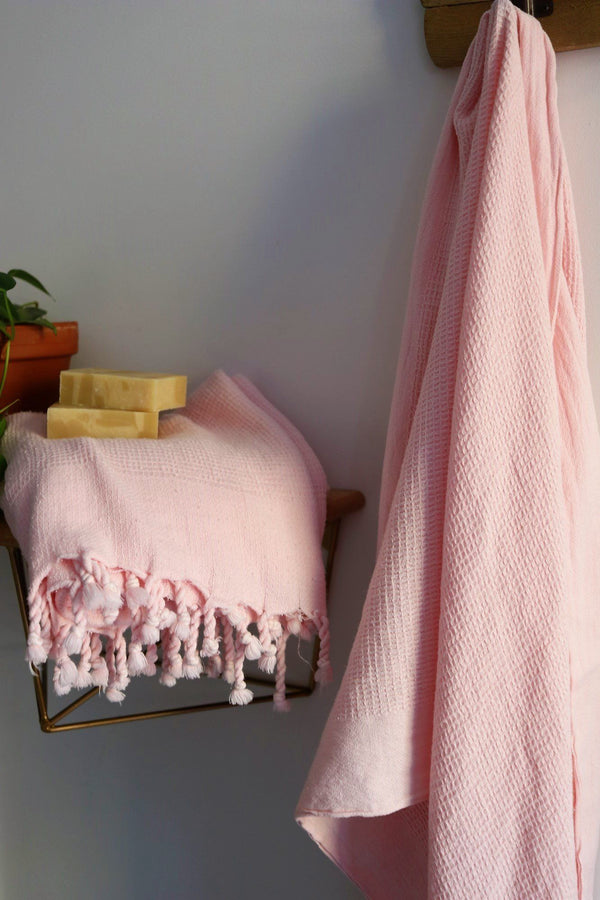 Anatoli Co Waffle-weave Turkish Towel Pink Turkish Towels Anatoli Co