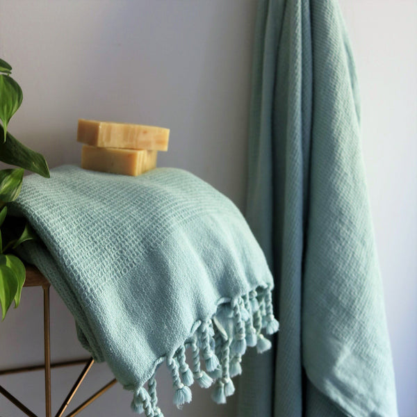Anatoli Co Waffle-weave Turkish Towel Powder Blue Turkish Towels Anatoli Co