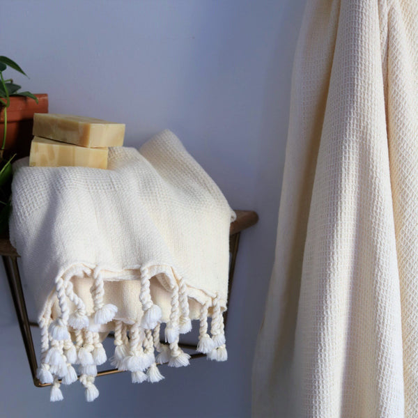 Anatoli Co Waffle-weave Turkish Towel White Turkish Towels Anatoli Co