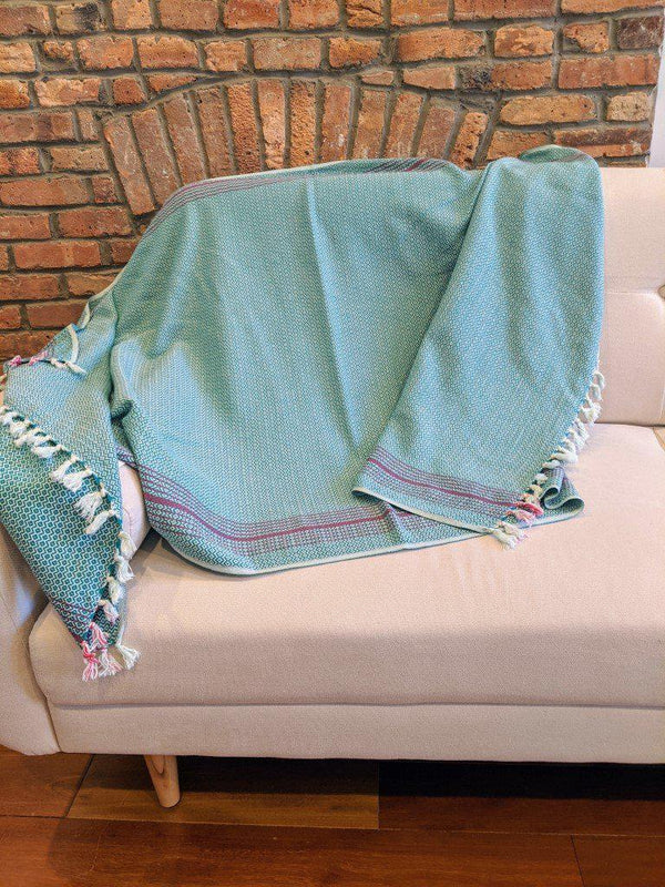 AnatoliCo Matia Handwoven Turkish Blanket / Scarf - Green Throw Anatoli Co