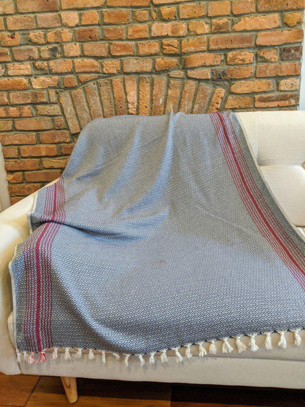 AnatoliCo Matia Handwoven Turkish Blanket / Scarf - Navy Throw Anatoli Co