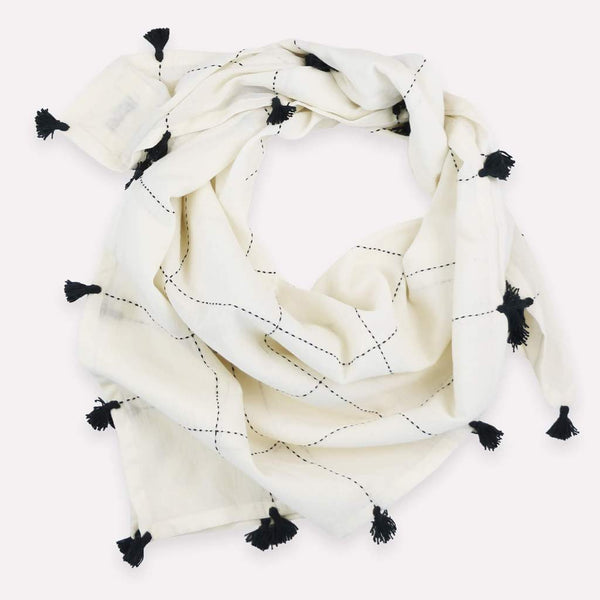 Anchal Bone Grid Square Scarf with Tassels Anchal Project