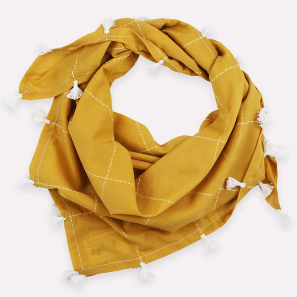 Anchal Gold Grid Scarf with Tassels Anchal Project