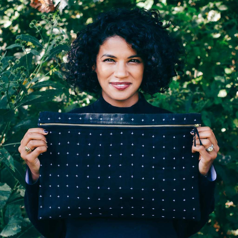 Anchal Large Overdyed Cross-Stitch Black Pouch Anchal Project