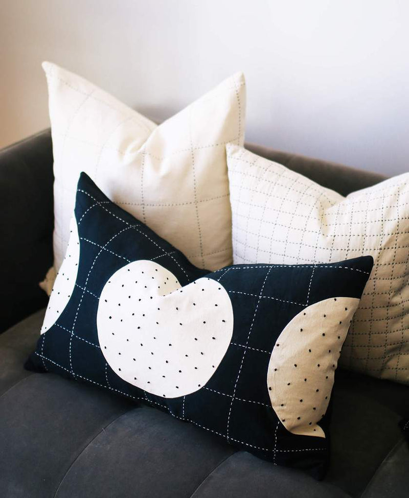 "Anchal Project 22"" Bone Grid Stitch Toss Pillow Anchal Project"
