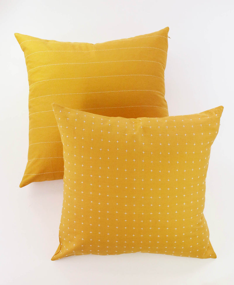 "Anchal Project 22"" Gold Cross-Stitch Embroidered Toss Pillow Anchal Project"