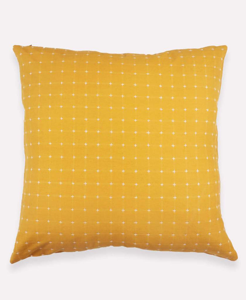 "Anchal Project 22"" Gold Cross-Stitch Embroidered Toss Pillow Anchal Project Pillow Cover"