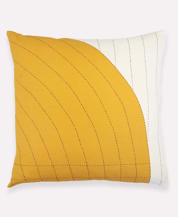 "Anchal Project 22"" Gold Curve Toss Pillow Anchal Project Pillow Cover"
