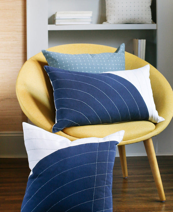 "Anchal Project 22"" Navy Curve Toss Pillow Anchal Project"