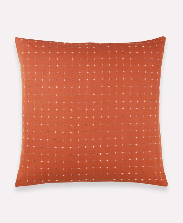 "Anchal Project 22"" Rust Cross-Stitch Embroidered Toss Pillow Anchal Project Pillow Cover"