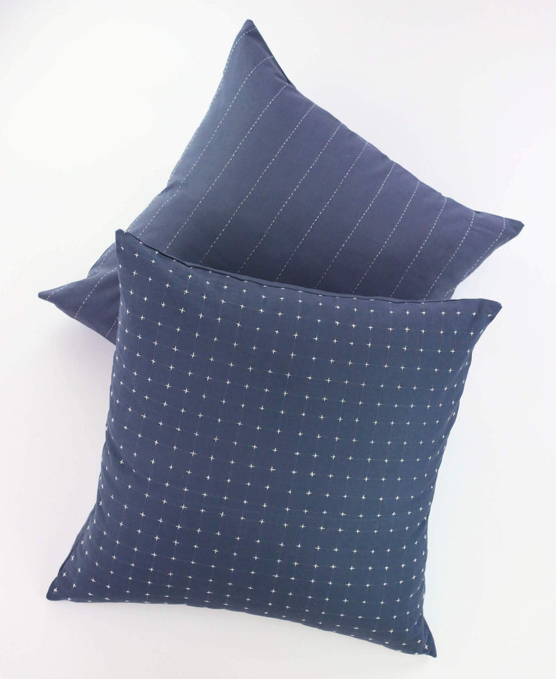 "Anchal Project 22"" Slate Cross-Stitch Embroidered Toss Pillow Anchal Project"