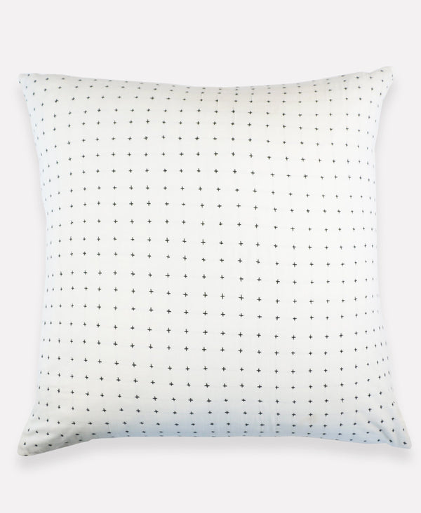 "Anchal Project 26"" Bone Cross-Stitch Embroidered Euro Sham Anchal Project Pillow Cover"
